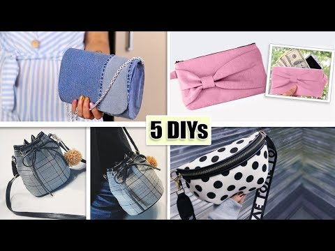 5 DIY LOVELY POUCH BAG WOMAN TRENDY DESIGN // Cute Zipper Purses Tutorials