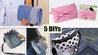 5 DIY LOVELY POUCH BAG WOMAN TRENDY DESIGN // Cute Zipper Purses Tutorials