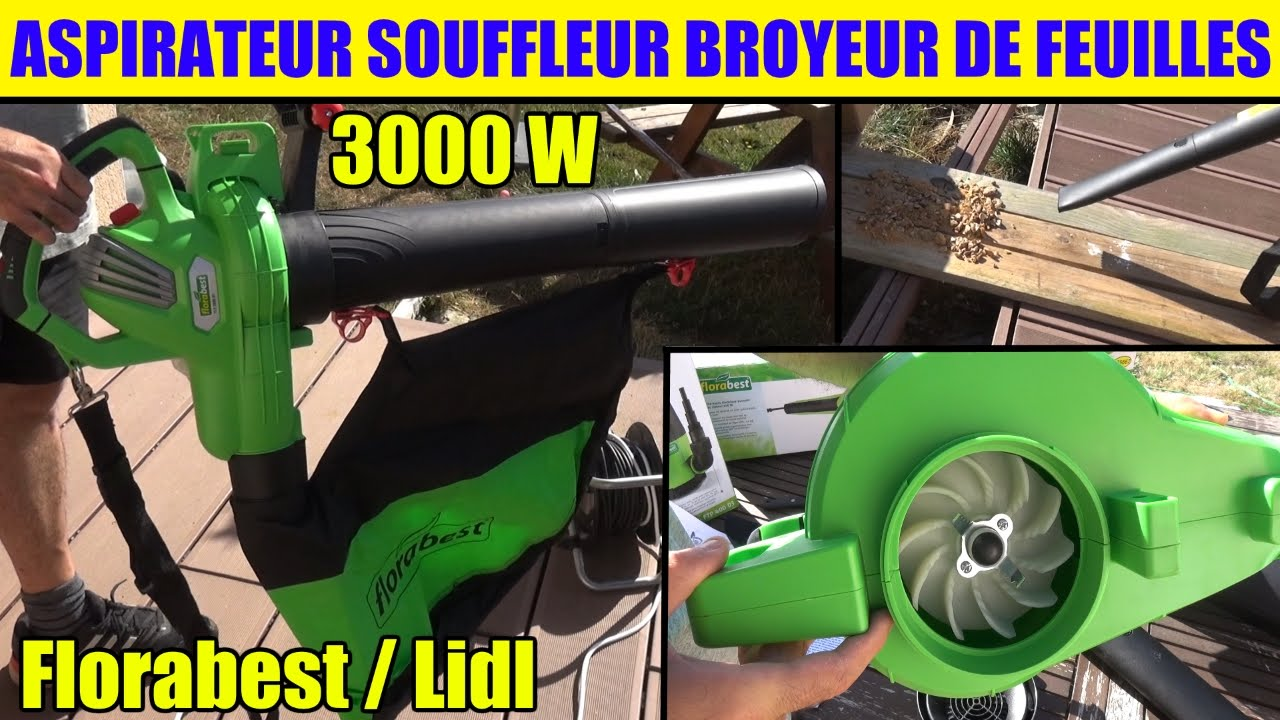 aspirateur souffleur broyeur lidl florabest de feuilles electric leaf vacuum elektro laubsauger. Black Bedroom Furniture Sets. Home Design Ideas