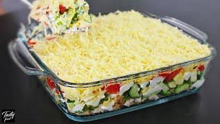 Вкуснейший Слоеный Летний Салат Из Доступных Продуктов!