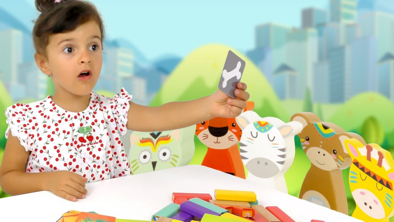 Sara Plays With Animal Stacking Game Toy For Kids