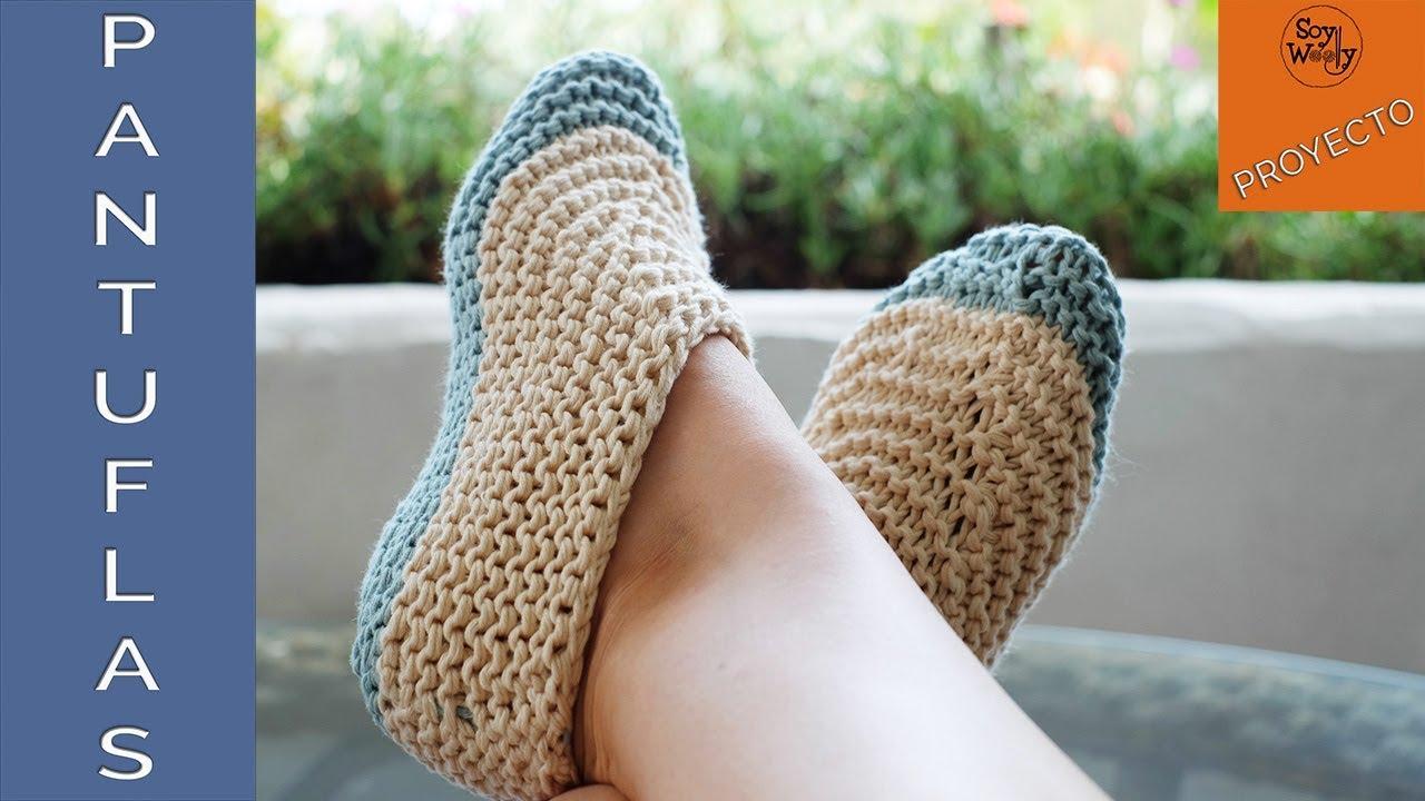Pantuflas-Zapatillas muy fáciles tejidas en dos agujas-Soy Woolly ...