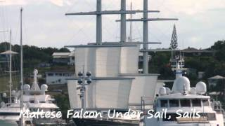 Yacht Charter; Maltese Falcon Sets Sail From Falmouth Harbor, Antigua