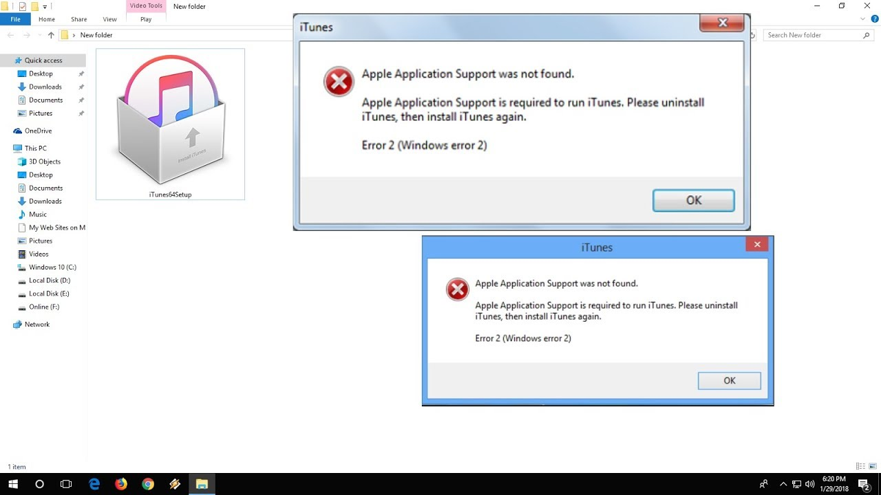 How to Fix iTunes Install Error-2 Application support was not found in  Windows PC