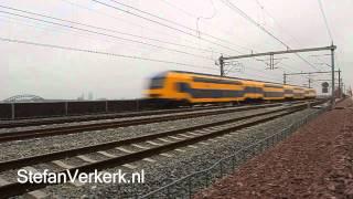 DDZ dubbeldekker met testrit over Hanzeboog spoorbrug Hattem - Zwolle - ©StefanVerkerk.nl
