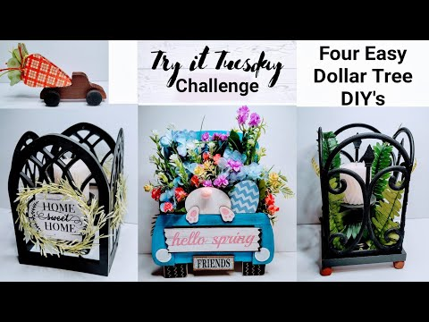 Try It Tuesday Challenge || Four Easy Dollar Tree DIY's || Arch Windows Garden Fence Trucks Crafts