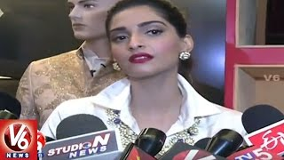 Bollywood Actress Sonam Kapoor Launches Designer Boutique in Banjarahills | Hyderabad | V6 News