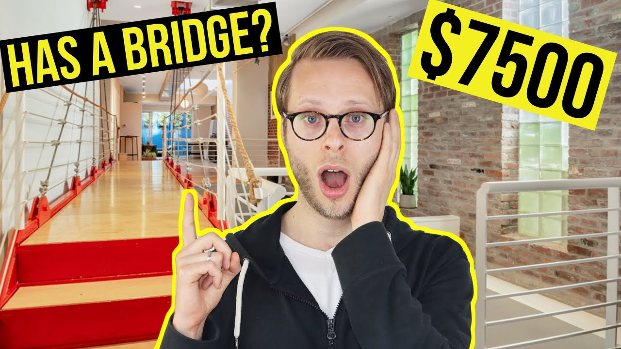 Inside a $7500 NYC Apartment with a Draw-Bridge and Glass Roof!