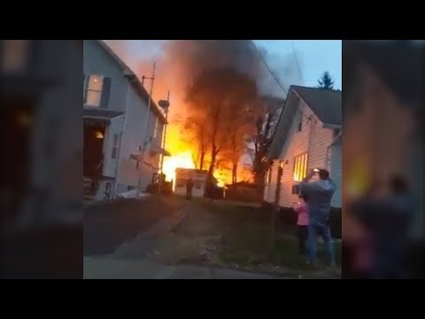 Towering fire rages in Lawrence Township
