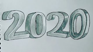 How to Draw HAPPY NEW YEAR 2020 Easy and colour Drawing for kids New Year Colouring Art tutorial