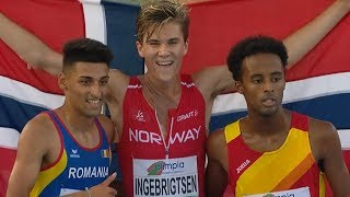 Jakob Ingebrigtsen wins 5000m FINAL U20 CHAMPIONSHIPS - GROSSETO 2017