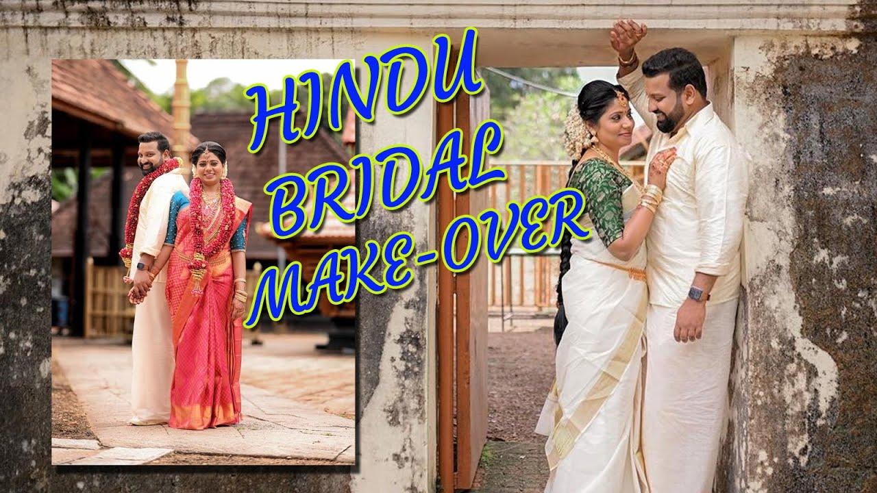 South Indian Kerala Hindu Bridal Makeup look | Hairstyle & Saree draping | Affordable Bridal Makeup