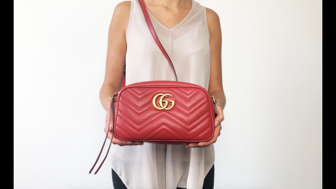 eb8afff0e25 Gucci Marmont Small Matelasse Red Quilted Authentic Handbag Look ...