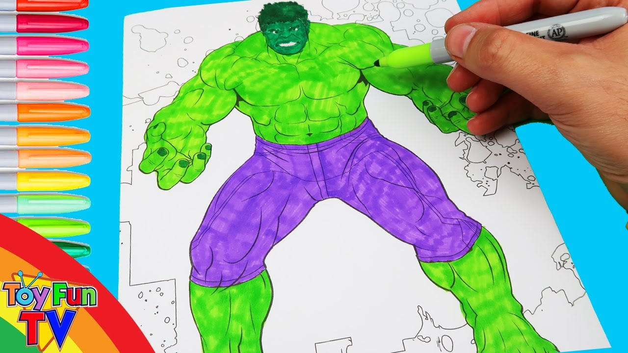 SuperHeroes The Hulk Avengers Coloring Book colour in ToyfunTV - YouTube