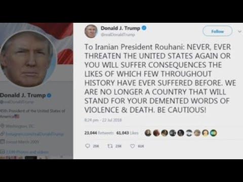 """Trump, al presidente iraní: """"No vuelva a amenazar a EE UU o sufrirá las consecuencias"""""""