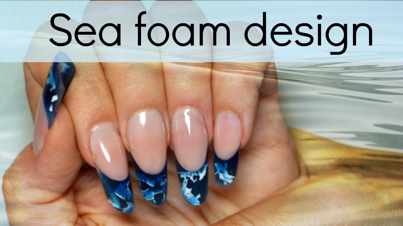 Sea Foam - Inlay acrylic design | Easy nail art tutorial #allpowder ...