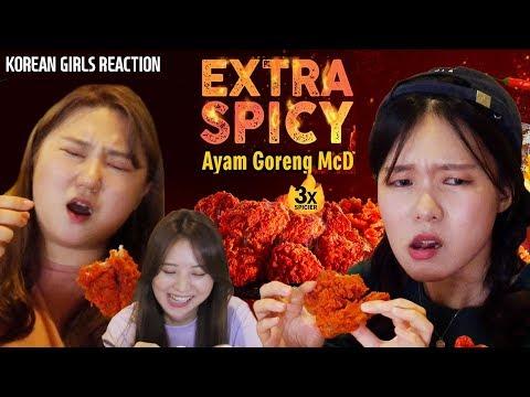 Korean Girls Try McDonald's Ayam Goreng Spicy 3X+ Yerim's Singing?! L Blimey