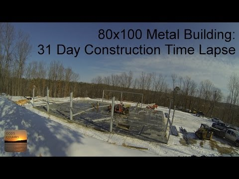 80x100 Metal Building: 31 Day Construction Time Lapse