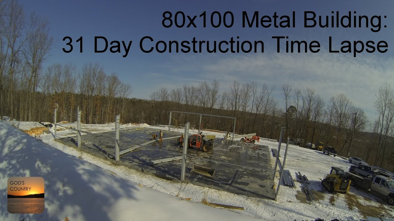 80x100 Metal Building 31 Day Construction Time Lapse