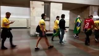 Чемпионат мира по футболу 2018 в Москве. Иностранные болельщики в Московском метро.