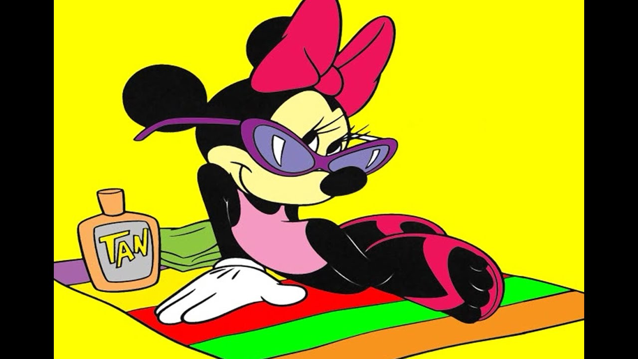 Minnie Mouse On The Beach Coloring Pages