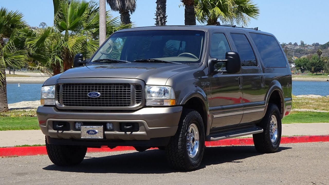 2002 ford excursion limited 7 3l diesel 4x4 4wd 3rd row seat dvd cd player captain chairs