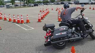 Police Motorcycle Skills Practice (Lock and Lean)