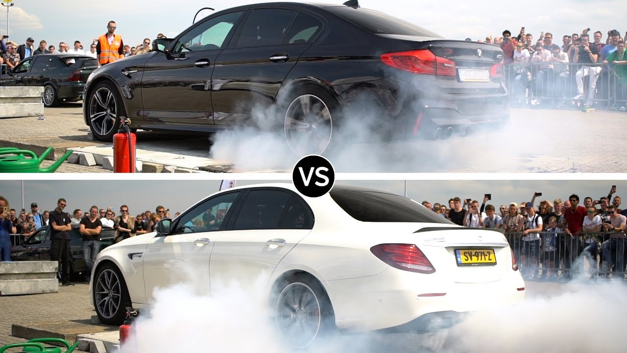 BMW M5 и Mercedes-AMG E63 S въртят гуми, коя е по-яката машина?