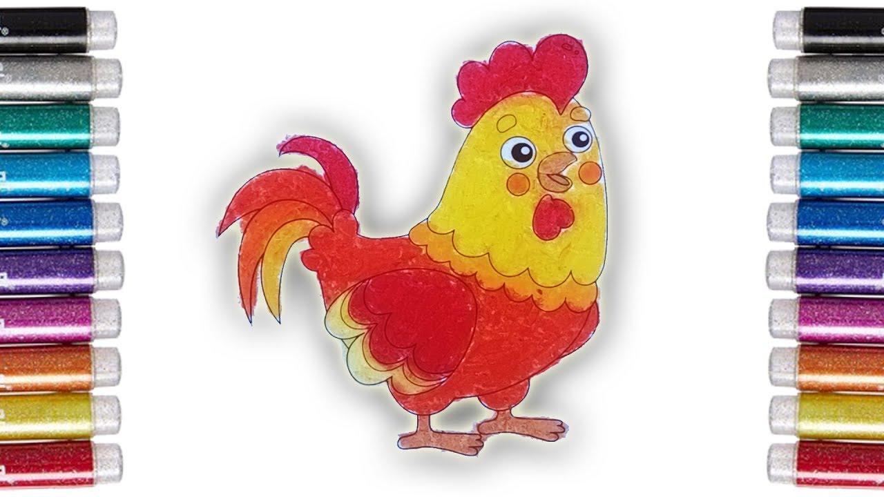 Coloring Anaimals Mewarnai Ayam Jago Dengan Crayon Youtube