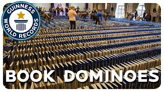 Most books toppled in a domino fashion - Guinness World Records