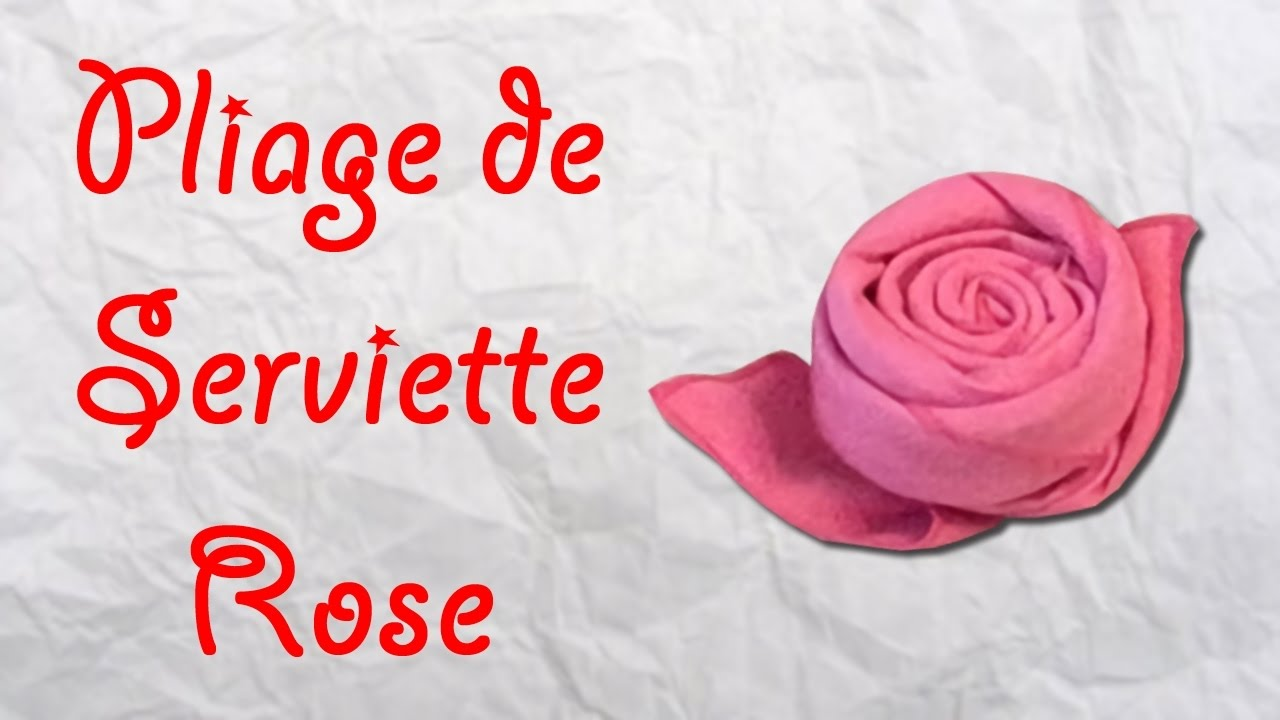 origami pliage de serviette rose serviette en forme de rose youtube. Black Bedroom Furniture Sets. Home Design Ideas