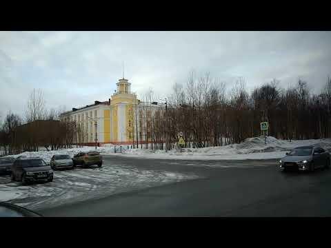 . Мончегорск-Автовокзал-Улица. Поездка на автобусе по городу (Мурманская область)