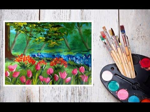 Видео урок Рисуем Гуашью Пейзаж с тюльпанами! #Dari Art