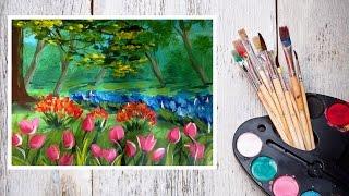 Видео урок Рисуем Гуашью Пейзаж с тюльпанами! #Dari Art(В этом видео предлагаю создать не простой пейзаж, а пейзаж с тюльпанами! Ведь тюльпаны, такие красивые цвет..., 2015-05-28T06:54:56.000Z)