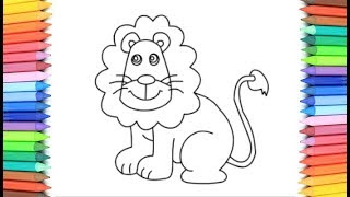 How To Draw A Lion for Kids 💙💜💖 Lion Drawing and Coloring Pages for Kids