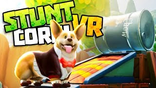 PUPPY SKATES DOWN STEEPEST SLOPE - Stunt Corgi VR Gameplay - VR HTC Vive Gameplay