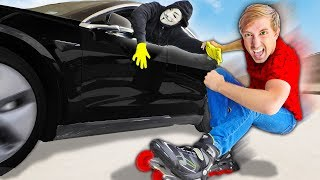 I CHASE HACKER TESLA ON SKATES while Spy Ninjas Vy Qwaint, Daniel & PZ4 Challenge Project Zorgo