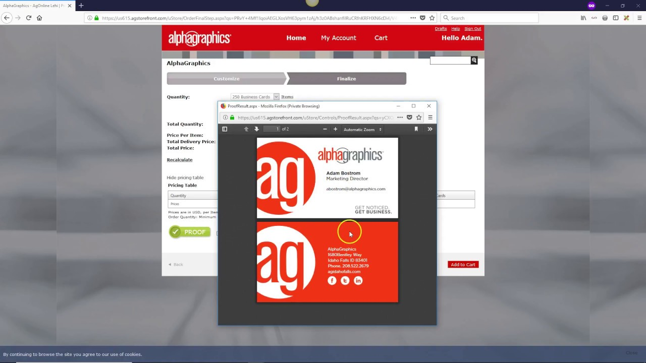 Agonline tutorial business card ordering process youtube agonline tutorial business card ordering process colourmoves