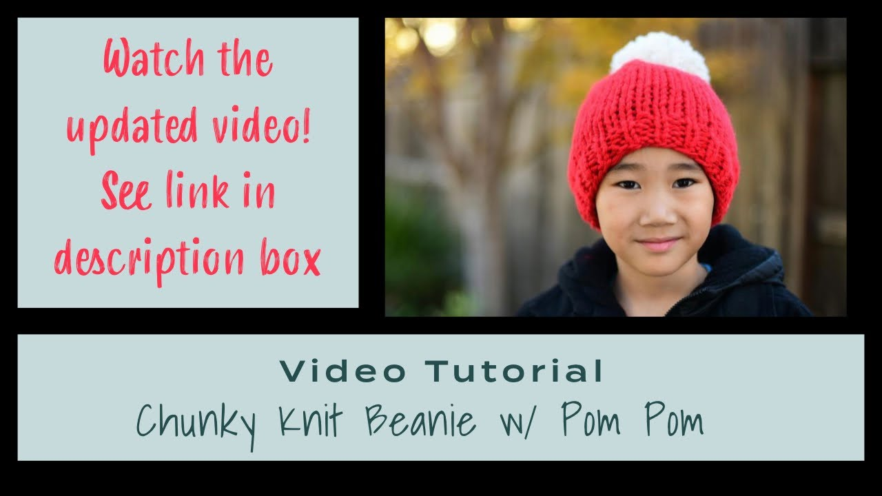 962db223fb9 Knit Chunky Beanie with Pom Pom Tutorial - YouTube