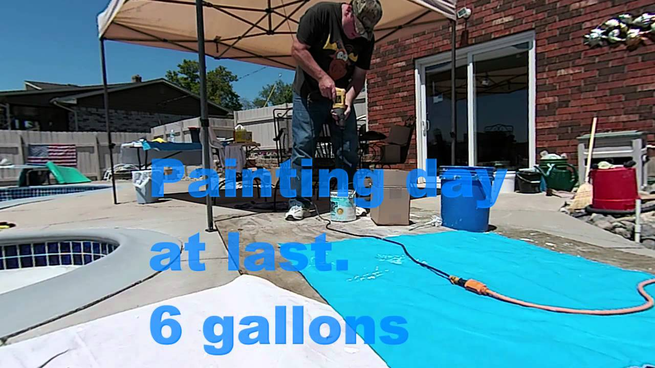 Pool tile replacement and new paint with mosaic - YouTube