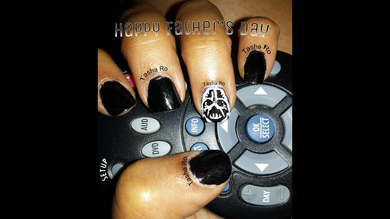 Darth Vader nail art for Father\'s day - YouTube