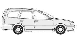 How to Draw a Nissan Sunny Traveller / Как нарисовать Nissan Sunny Traveller