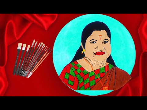 K. S. Chithra || Indian playback singer || Acrylic Painting || Vinil Art & Photography || #KSChithra