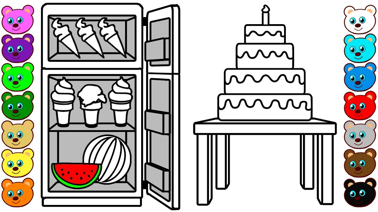 Big Cake & Fridge of Ice Cream & Watermelon | Coloring Pages