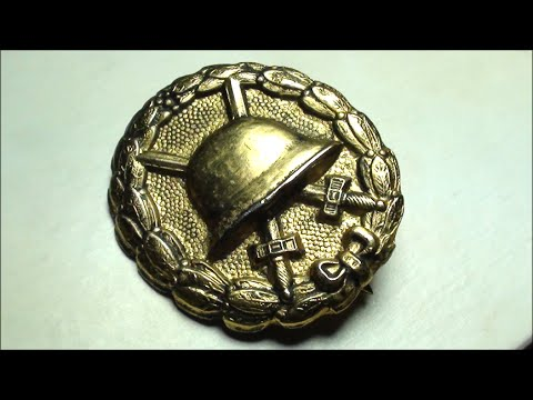HISTORIC gold GERMAN WOUND BADGE from WORLD WAR 1 - German war medal