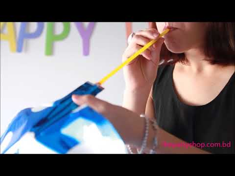How To Inflate Foil Balloon Video Withot Helium Or Pumps Www.thepartyshop.com.bd