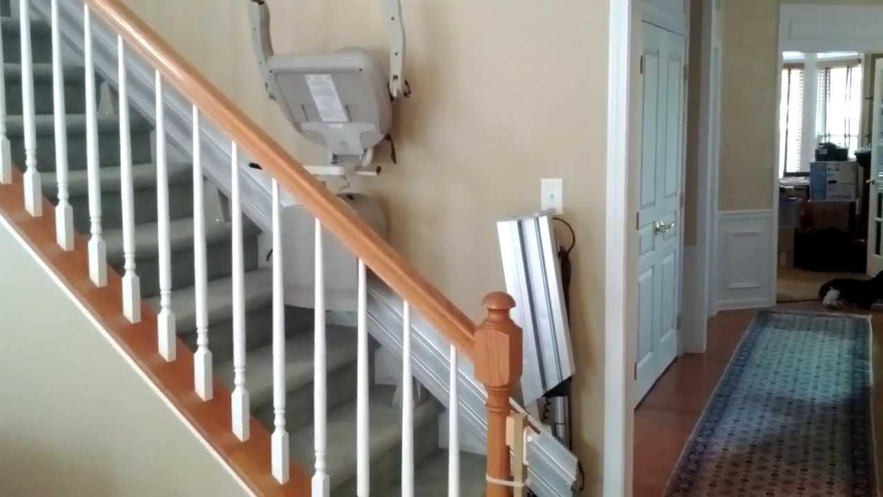 Stair Lift | Bruno Power Folding Hinge Rail Stairlift - YouTube