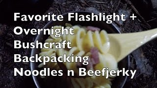 Overnight Bushcraft Backpacking Dinner Noodles N Beefjerky + Thrunite Ti4 Penlight