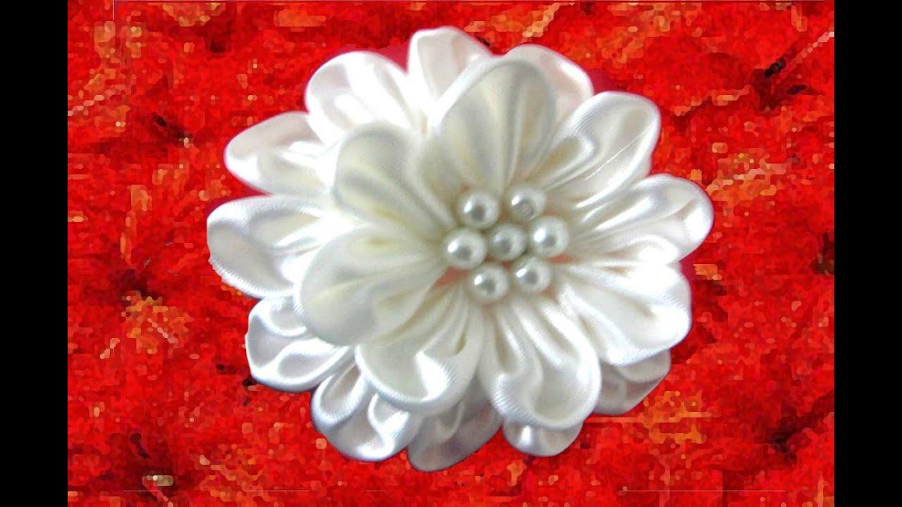 Mo os en telas para el cabello flores blancas hermossas youtube - Flores de telas hechas a mano ...