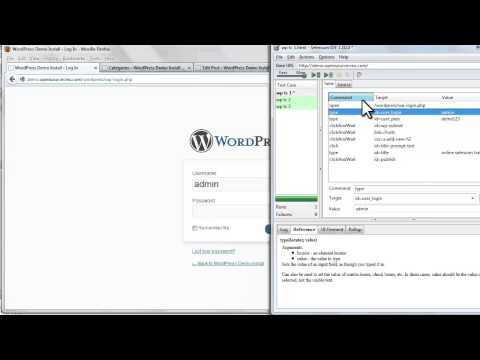 5. Selenium IDE Test Case Pane  [Command, Target, and Value entry fields]